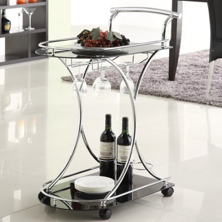 Coaster Contemporary Serving Cart, Black/Chrome - 4 Tier Oval Shelf Cart