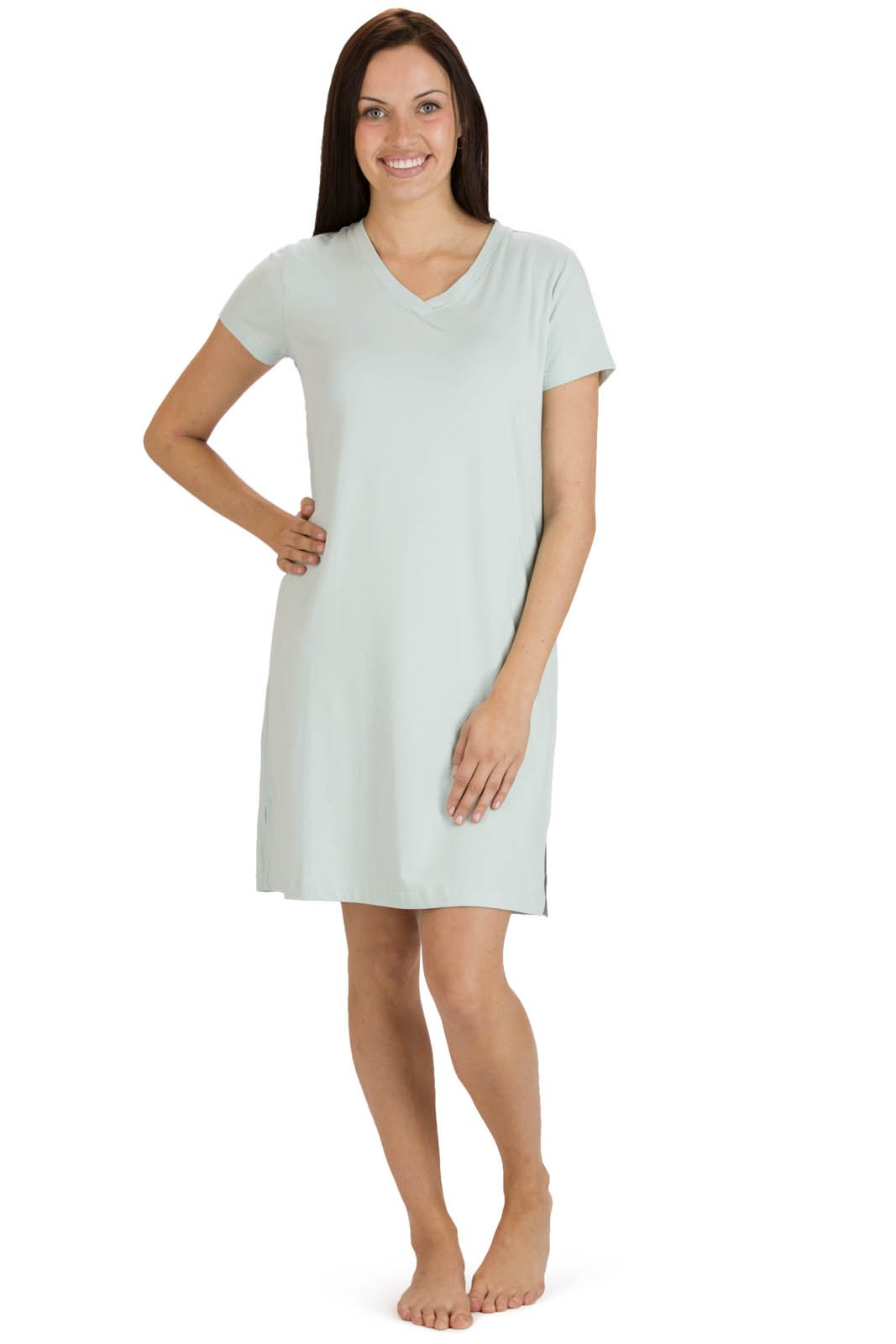 Fishers Finery Women's Tranquil Dreams V Neck Nightshirt Comfort Fit, Sea Glass, X-Large