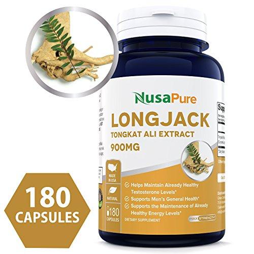 Pure Longjack Tongkat Ali 900mg 180 Caps (Non-GMO & Gluten Free) - Natural Testosterone Booster, Increase Physical Endurance - Made in USA - 100% Money Back Guarantee - Order Risk ()