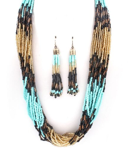 Accessory Accomplice Goldtone Turquoise Multi-Color Seed Bead Multi-Strand Necklace & Earring Set