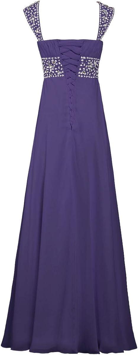 ANTS Womens Bead Chiffon Cap Sleeve Evening Wedding Guest Dresses