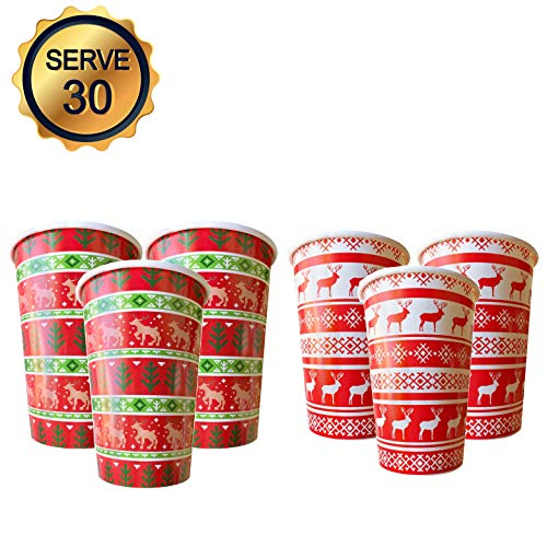 30PCS 16OZ Disposable Winter New Year Cup Christmas Sweater Reindeer Design for Holiday Party Paper Drinkware