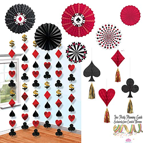 (Casino Night Party Bundle | 6 Printed Paper Fans, Doorway Foil Strings & Hanging Tassel Honeycombs in Hearts, Clubs, Spades & Diamonds by Curated Nirvana)