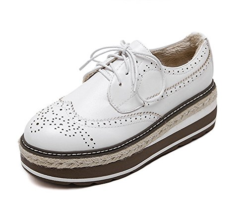 Shoes White Platform Oxfords Hollow Round Toe 1TO9 Out Womens Microfiber Bandage OgqAfq