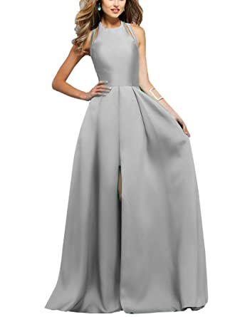 ZhixingKJ Women\'s Halter Satin A-Line Evening Prom Dress Long Formal ...