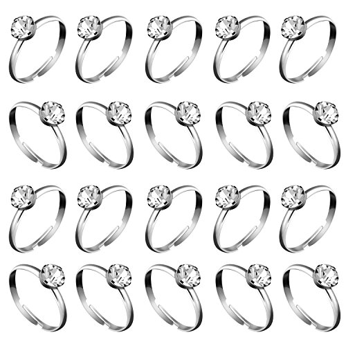 Whaline 36 Pcs Silver Diamond Engagement Rings for Wedding Table Decorations, Party Supply, Favor Accents, Cupcake Toppers (36 Packs) (Shower Anniversary Bridal)