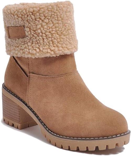Bloc Suède Cheville de Femme Bottines Boots Cuir Talons Minetom Chaussures Bottes Fourrées Classique Neige Peluche Hiver Ankle Chaudes wk8ONX0Pn