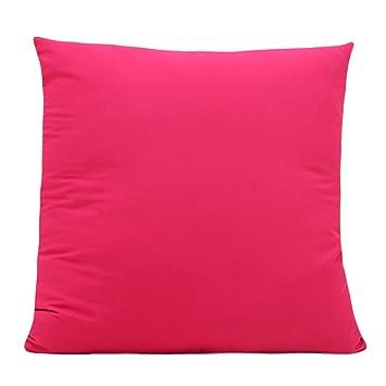 GROOMY Funda de Almohada Funda de cojín Caramelo de Color sólido Tirar en casa Sofá Decorativo Silla para automóvil - Rosa Roja