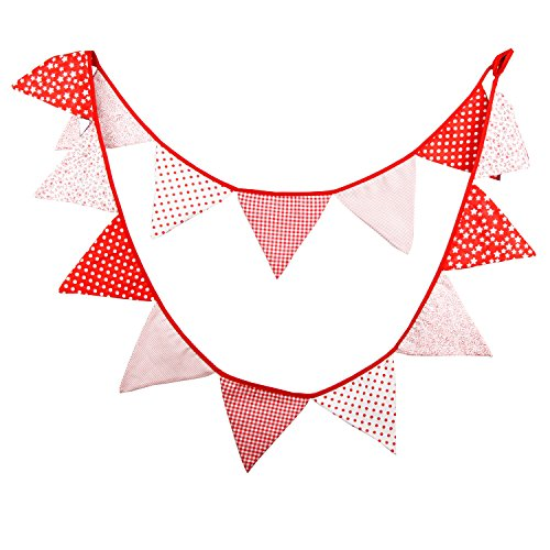 INFEI Red Vintage Fabric Flags Bunting Banner Garlands for Wedding, Birthday Party, Outdoor & Home Decoration ()