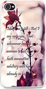 Dseason iphone 4 Case Iphone 4S Case New Slim Hard Unique Design Christian Quotes White plum blossom