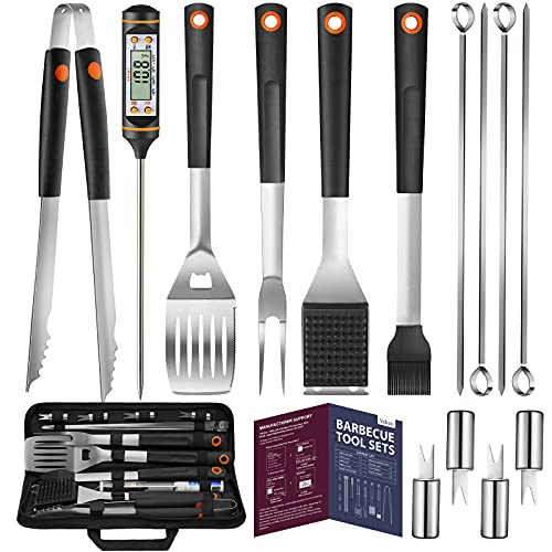 Veken 15 Pc. Grilling Accessories Tools Set with Meat Thermometer, BBQ Accessories Kit with 4-in-1 Spatula, Stainless…