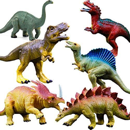 현실주의 공룡 인형 장난감-6 팩 7 인치 대형 플라스틱 공룡이 T-rex, Stegosaurus, Monoclonius를 포함 하 여, 어린이와 유아 교육 / Realistic Dinosaur Figure Toys - 6 packs 7 inch large plastic dinosaurs, including T-rex, Stegosaurus, Mo...