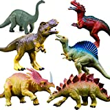 "OuMuaMua Realistic Dinosaur Figure Toys - 6 Pack 7"" Large Size Plastic Dinosaur set for Kids and Toddler Education, Including T-rex, Stegosaurus, Monoclonius, etc"