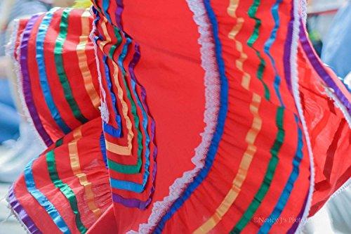 Mexican Dress Print Unframed Street Photography Cultural Fine Art Bright Red Wall Decor Festival Clothing Photo 5x7 8x12 12x18 16x24 20x30 24x36 by Nancy J's Photo Creations
