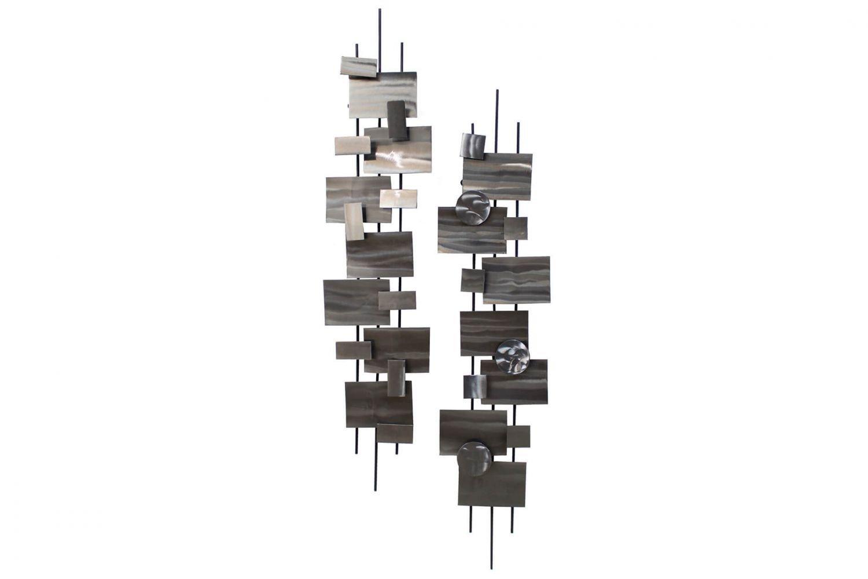 Extravagante KunstLoft® Metall Wandskulptur 'Living Geometry' 108x25x15cm     Design Wanddeko XXL handgefertigt   Luxus Metallbild Wandrelief   Abstrakte Quader & Kreise in Silber   Wandbild modern 3132a0