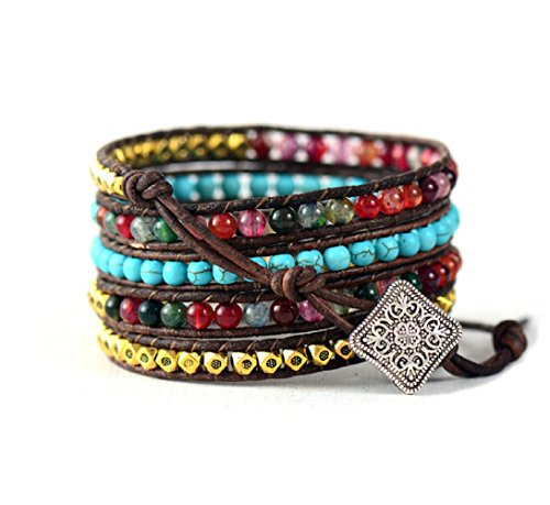 Leather Wrap Bracelet with Synthetic-Turquoise and Mixed Colorful Beads by Carolyn Jane's Jewelry