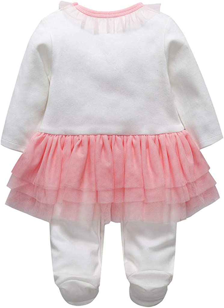 r.b.hickory Babys Tutu Rompers Girls Sleepsuits Cotton Onesies Footed Coveralls with Skirt