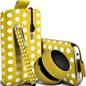 Nokia Lumia 635 Protección Premium Polka PU ficha de extracción Slip In Pouch Pocket Cordón piel cubierta de la caja de liberación rápida, grande Polka Stylus Pen & Mini recargable portátil de 3,5 mm Cápsula Viajes Bass Speaker Jack amarillo y blanco por Spyrox