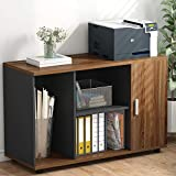 """File Cabinet, LITTLE TREE 39"""" Large Storage Printer Stand, Mobile Filing Office Cabinet with Wheels, Door and Open Shelves for Home Office, Dark Walnut"""