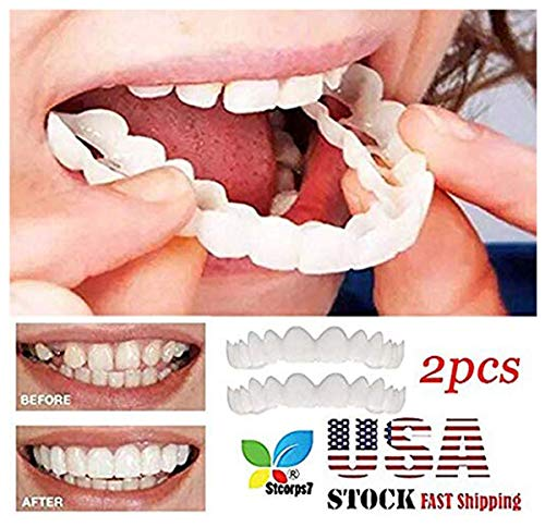 Veneers Snap in Teeth, STCORPS7 Braces Veneers Dentures Fake Teeth Smile Snap Instant and Confident on Smile 2Pcs Comfort Fit Flex Cosmetic Teeth Denture Teeth Top Cosmetic Veneer (2pcs.) -