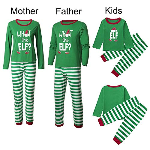 Iusun Family Pajamas Matching Sets, Christmas Man Women Boys Girls Striped Letter Elf Pajama PJ Sets Tops + Pants (Green-for Mom, XL)