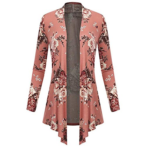Clearance Sale Womens Casual Long Sleeve Floral Irregular Hem Cardigan Open Coat Tops Blouse 4-12 (Pink, US:10(Asian XL)) from Aurorax-Jacket