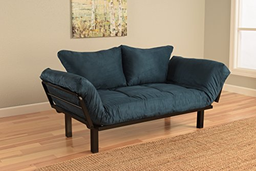 Best Futon Lounger Sit Lounge Sleep Smaller Size Furniture is Perfect for College Dorm Bedroom Studio Apartment Guest Room Covered Patio Porch . KEY KITTY Key Chain INCLUDED ( Posh Blue) (Frame Futon Bedroom Modern)
