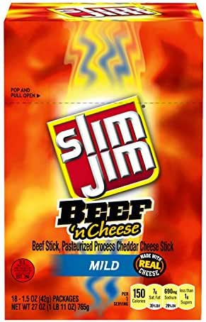 Jerky & Dried Meats: Slim Jim Beef & Cheese Sticks