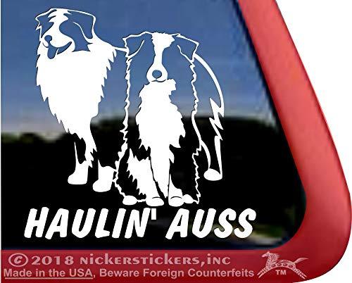 NickerStickers Haulin Auss   Funny Pair of Aussie Australian Shepherds Herding Dog Vinyl Window Decal