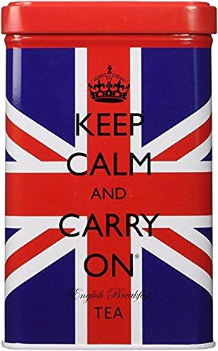 Keep Calm and Carry On Union Jack Tea Tin - Premium English Breakfast Tea - 40 Tea Bags