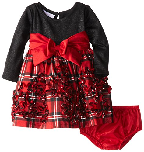 Stretch Taffeta Skirt (Bonnie Baby Baby Girls' Stretch Velvet To Taffeta Bonaz Skirt, Red, 24 Months)