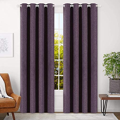 BEST DREAMCITY Blackout Curtains Purple 84 inch Bedroom Curtains Living Room Linen Textured Room Darkening Thermal Insulated Drapes Violet Grommet Top Window Treatment Set 2 Panels