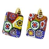 GlassOfVenice Murano Glass Color Splash Millefiori Rectangular Clip Earrings - Multi