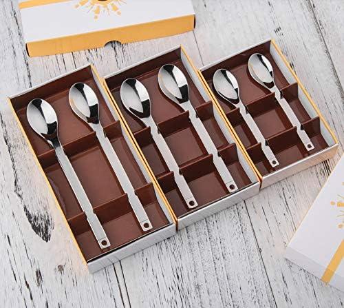 Cuchara de café vajilla cuchara de café cuchara de postre de acero inoxidable 304 cuchara agitadora 2 caja de regalo, caja de regalo mediana de 2 palos: Amazon.es: Hogar