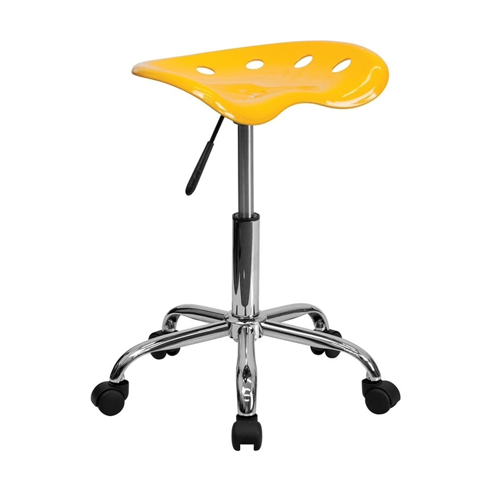 Offex Vibrant Tractor Seat Stool, Orange/Yellow