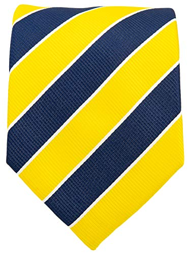 College Striped Ties for Men - Woven Necktie - Navy Blue w/Yellow