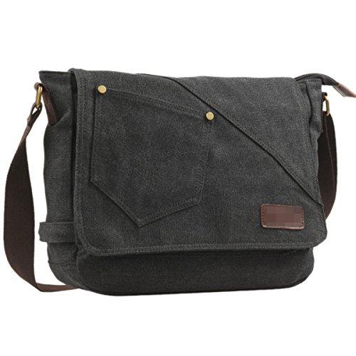 Shoulder Casual And Messenger For Bags Women Travel Daypack Canvas Sports Men Pack School Work Sling Black Retro Bag AwtPIqU