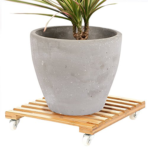 Movable Bamboo Plant Pot Trolley Plant Pot Stand Coaster with 4 Wheels Rolling Base by Antoop