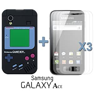 OnlineBestDigital - Gameboy Style Silicone Case for Samsung Galaxy Ace - Black with 3 Screen Protectors