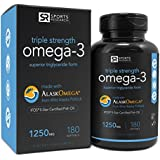 Omega-3 Fish Oil 1250mg (Triple Strength) 180 gelcaps| Contains the highest levels of triglyceride Omega-3s EPA & DHA per softgel | Best Omega support for a Healthy Heart - IFOS 5 Star Certified