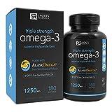 Omega-3 Fish Oil 1250mg Triple Strength, IFOS 5 Star Certified, 180 Fish Gel Capsules