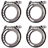 labwork 4Pcs 2.5' V-Band Flange and Clamp Kit for Turbo Exhaust Downpipes Stainless Steel
