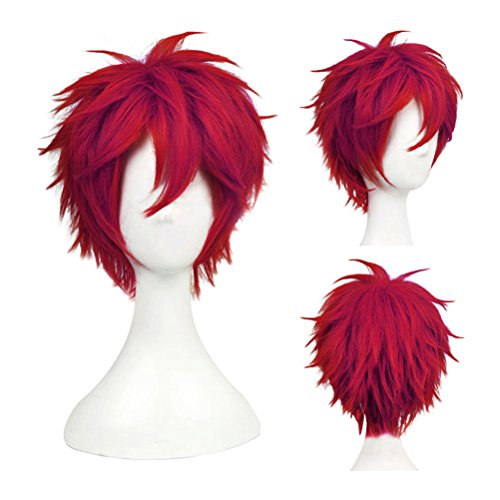 - Another Me Women Men's Layered Short Straight Wig Dark Wine Red Hair Heat Resistant Fiber Wig Party Cosplay Accessories Naruto One Piece