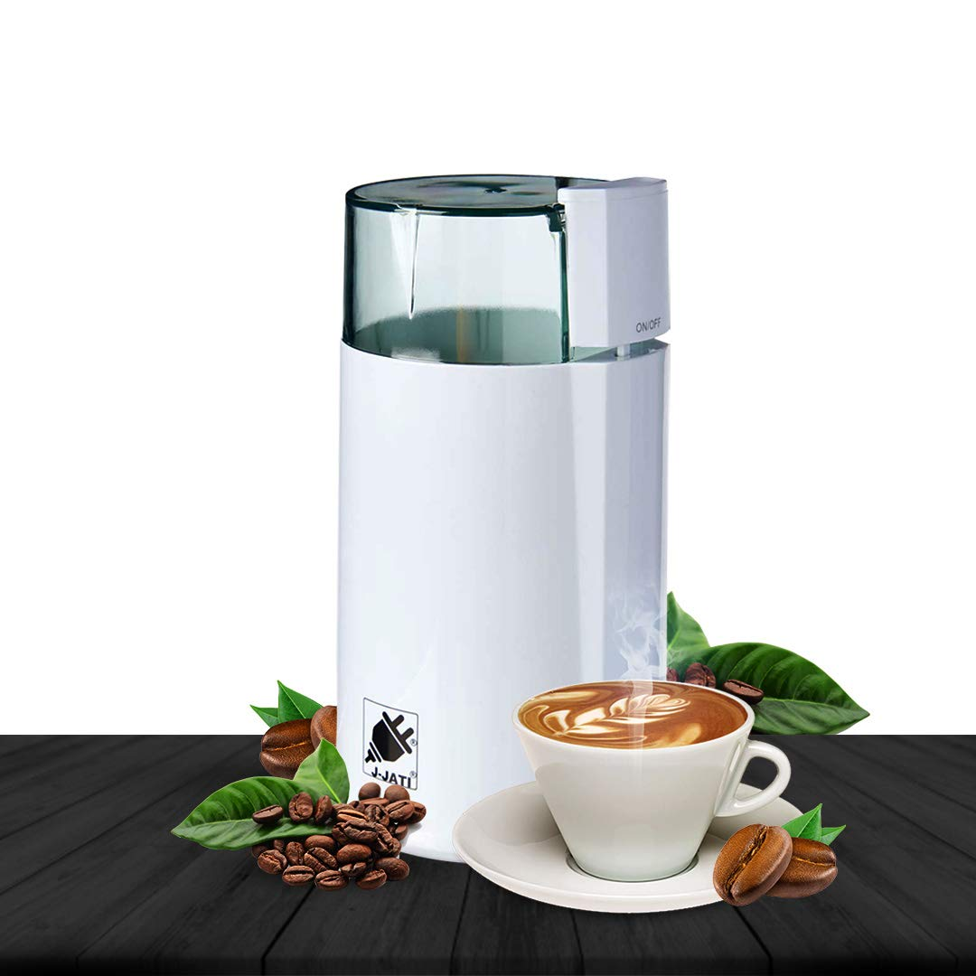J-Jati Electric Coffee Grinder Mill with Large Grinding Capacity and HD Motor /Spices, Herbs, Nuts, Grains and More and More, White by J-JATI