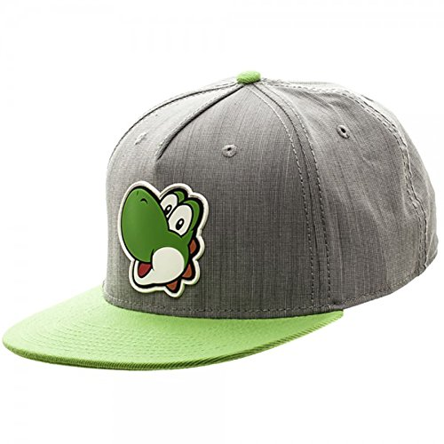 [Nintendo Yoshi Face Rubber Sonic Weld Snapback Hat] (One Up Mushroom Costume)