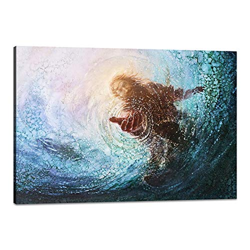 Yatsen Bridge Framed Christ Jesus Posters and Prints Modern HD Prints The Hand of Jesus Reaching Into Water Christian Religion Canvas Artwork Easy to Hang for Home Decoration - 18''H x 24''W ()