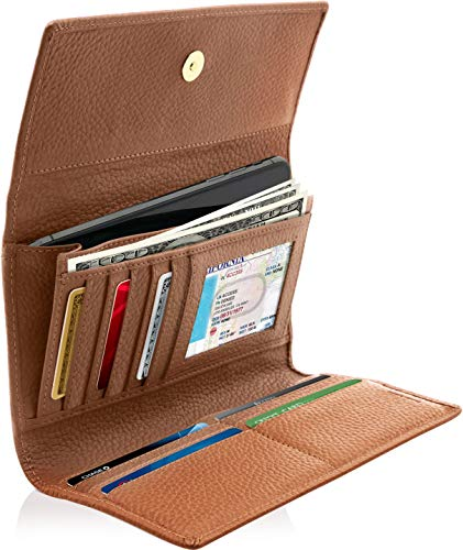 Leather Trifold Clutch Wallets For Women - Ladies Wallet Organizer With Checkbook Cover Gifts For Women