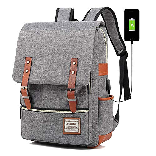 Vintage Laptop Backpack for Women Men Fashion School 15.6 USB Daypack