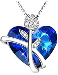 """""""Love Promise"""" Rose Heart Pendant Necklace Sterling Silver with Blue Swarovski Crystals - Birthday Gift for Her - Jewelry for Women Wife Girlfriend"""