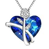 "ویکالا · خرید  اصل اورجینال · خرید از آمازون · ""Love Promise"" Rose Heart Pendant Necklace Sterling Silver with Blue Swarovski Crystals - Birthday Gift for Her - Jewelry for Women Wife Girlfriend wekala · ویکالا"